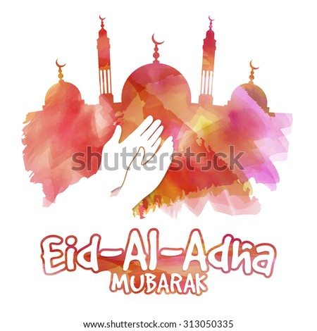 Illustration of a islamic man praying on occasion of muslim community festival of sacrifice, Eid-Al-Adha Mubarak. - stock vector