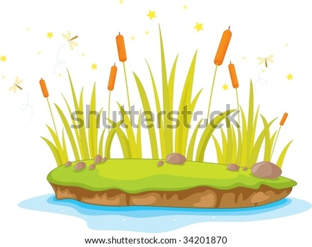 Illustration of  a island on white - stock vector