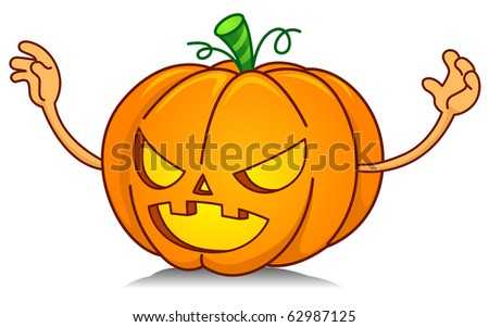 Illustration of a Jack o Lantern Trying to Scare Someone or Something Away