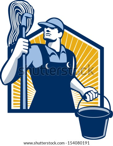 Illustration of a janitor cleaner worker holding mop and water bucket pail viewed from low angle done in retro style.