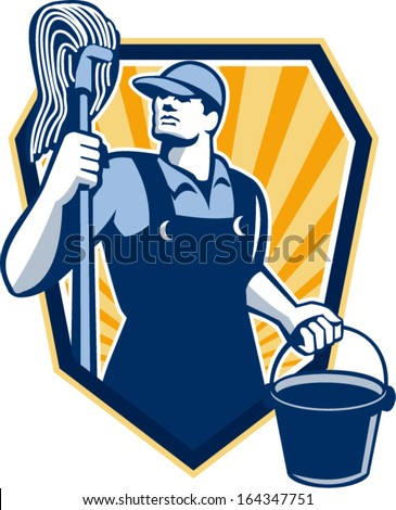 Illustration of a janitor cleaner worker holding mop and water bucket pail viewed from low angle done in retro style set inside shield crest. - stock vector
