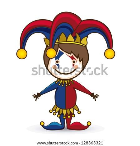 Illustration of a joker, April Fool's Day, jester illustration,  vector illustration - stock vector