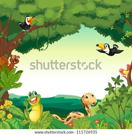 Illustration of a jungle scene - stock vector