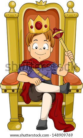 Illustration of a Kid Boy Prince Sitting on His Throne - stock vector