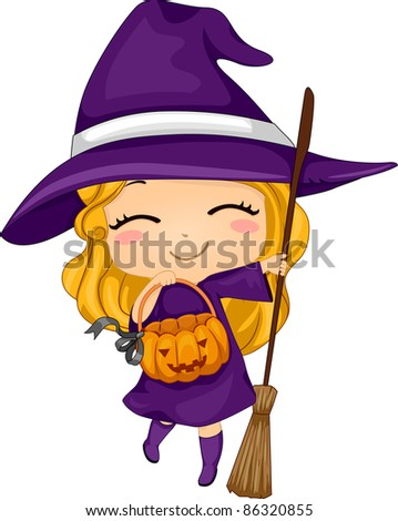 Illustration of a Kid Dressed as a Witch - stock vector