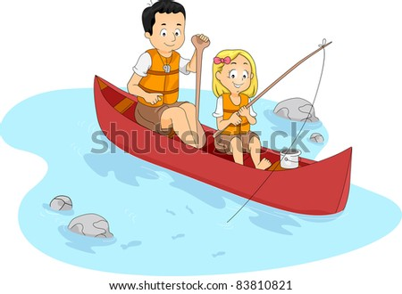 Illustration of a Kid Fishing with Her Teacher/Counselor - stock vector