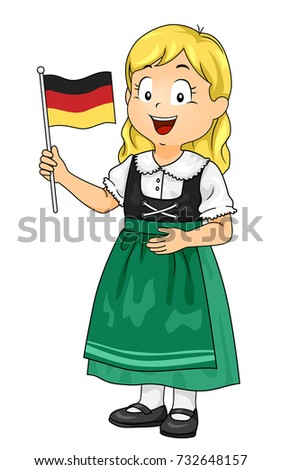 Illustration of a Kid Girl Wearing German National Costume and Holding a Flag of Germany  sc 1 st  Shutterstock & Illustration Kid Girl Wearing German National Stock Vector 732648157 ...