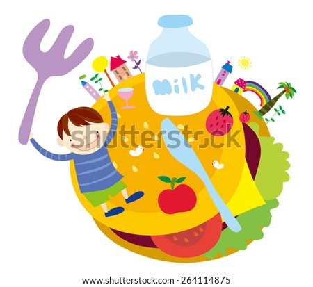 illustration of  a kid having food on white background - stock vector