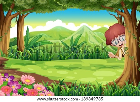 Illustration of a kid hiding at the tree inside the forest - stock vector