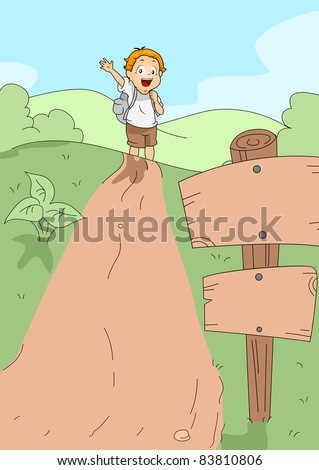 Illustration of a Kid Hiking - stock vector