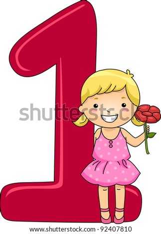 Illustration of a Kid Holding a Flower - stock vector