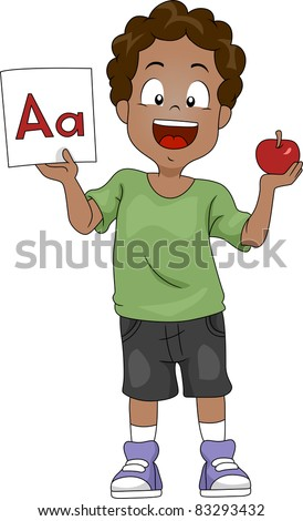 Illustration of a Kid Holding an Apple and a Flashcard - stock vector