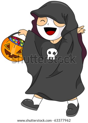 Illustration of a Kid in Costume Going Trick or Treating - stock vector