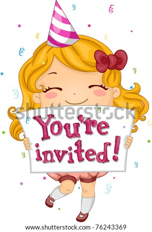 Illustration of a Kid Inviting People to Her Party - stock vector