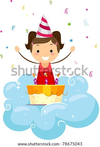 Illustration of a Kid Looking Happily at Her Birthday Cake - stock vector