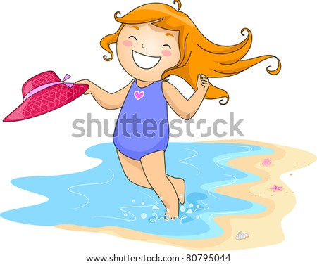 Illustration of a Kid Playing by the Shore - stock vector