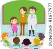 Illustration of a Kid Presenting Her Parents - stock vector