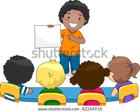 Illustration of a Kid Presenting Something to His Classmates - stock vector