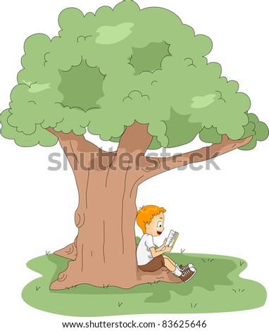 Illustration of a Kid Reading a Book at Camp - stock vector