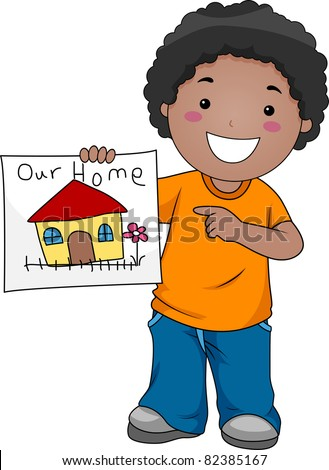 Illustration of a Kid Showing a Drawing of Their Home - stock vector