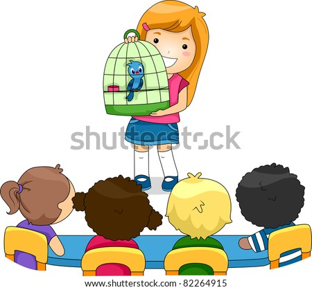 Illustration of a Kid Showing Her Pet to Her Classmates - stock vector
