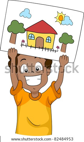 Illustration of a Kid Showing His Drawing - stock vector