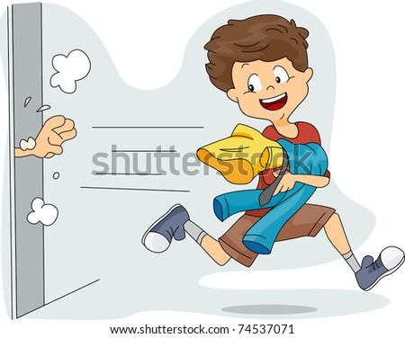 Illustration of a Kid Stealing Clothes - stock vector