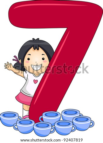 Illustration of a Kid Surrounded by Cups - stock vector