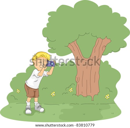 Illustration of a Kid Taking Pictures in a Camp - stock vector