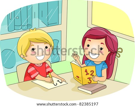 Illustration of a Kid Tutoring Her Friend - stock vector