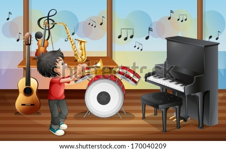 Illustration of a kid with musical instruments - stock vector