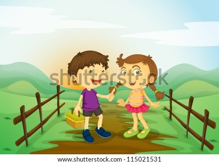illustration of a kids and landcape in a beautiful nature - stock vector