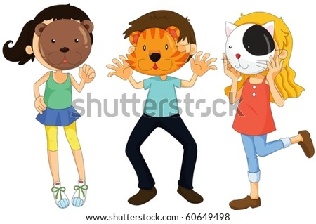 illustration of a kids on a white background - stock vector