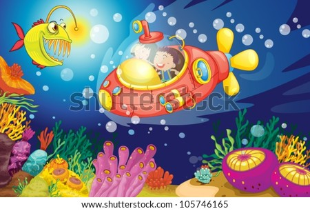 illustration of a kids swimming in water - stock vector