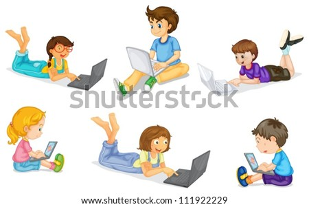 illustration of a kids with laptop on a white - stock vector