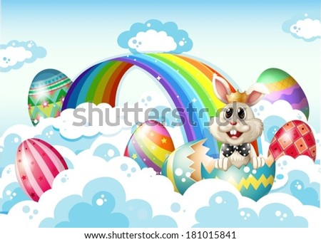 Illustration of a king bunny at the sky with Easter eggs near the rainbow - stock vector