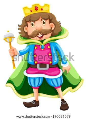 Illustration of a king on a white background - stock vector