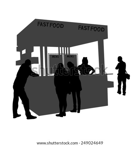 Illustration of a kiosk sells fast food - stock vector