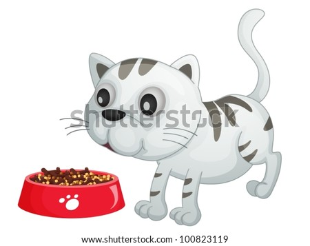 Illustration of a kitten about to eat food - stock vector