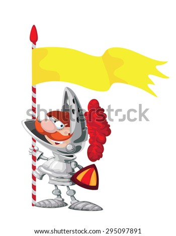 illustration of a Knight with a flag - stock vector