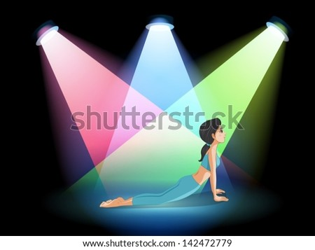 Illustration of a lady exercising in the middle of the stage