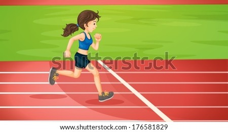 Illustration of a lady running