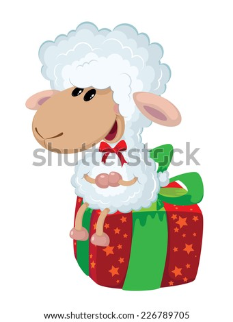 illustration of a lamb on the box - stock vector