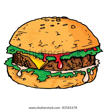 Illustration of a large juicy hamburger. Isolated - stock vector