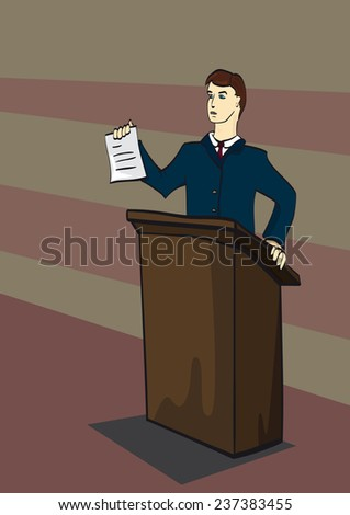 illustration of a lawyer standing behind a table on a dark background