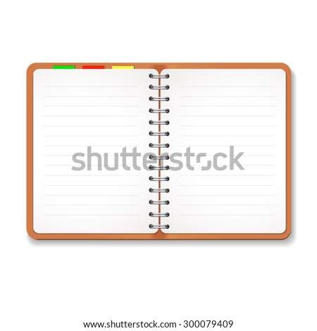 Illustration of a leather notebook  with spiral, colorful tabs,  blank lined paper - stock vector