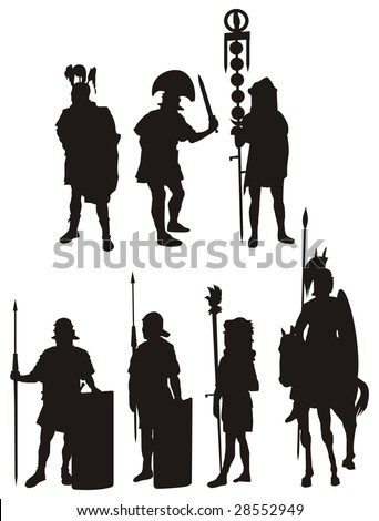 Illustration of a legionary. Soldiers of ancient Rome. - stock vector