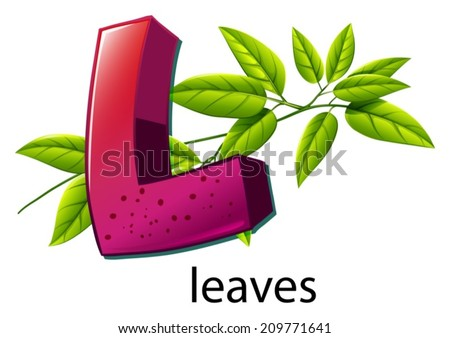 Illustration of a letter L for leaves on a white background - stock vector