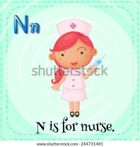 Illustration of a letter N is for nurse - stock vector