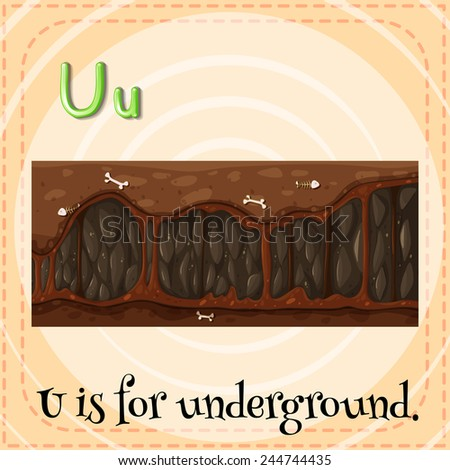 Illustration of a letter U is for underground - stock vector